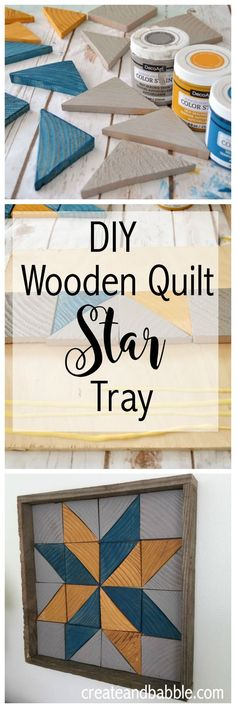 DIY Wooden Quilt Star Tray Woodwork Crafts - The Beginners Guide To Woodworking Woodworking is one h Barn Quilt Designs, Barn Quilt Patterns, Quilting Designs, Wooden Crafts, Wooden Diy, Wooden Signs, Diy Wood Projects, Woodworking Projects, Woodworking Bench