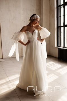 Wedding dress 'MORGAN' / Light chiffon wedding dress with a tender draped top, separate sleeves a... Cream Wedding Dresses, Wedding Dresses Photos, Designer Wedding Dresses, Corset, Custom Dresses, French Lace, Stunning Dresses, I Dress, Bridal Gowns