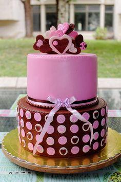 Heart themed birthday cake