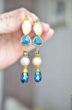 """Купить Серёжки """"Голубая лагуна"""" - голубой, сережки с кристалами, кристаллы сваровски, подарок для женщины"""