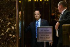 11/12/16-as chief of staff, Mr. Priebus will be the one who has several hundred White House staff members reporting to him. He will be the primary gatekeeper for Mr. Trump and the person most responsible for steering the president's agenda through Congress. That role will be especially critical for Mr. Trump, who has never served in government and has few connections to important political figures./ © Ruth Fremson/The New York Times/ Reince Priebus at Trump Tower on Saturday.
