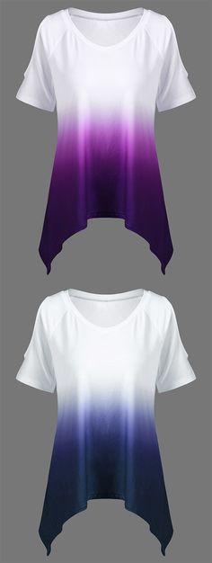 V Neck Ombre Open Shoulder Asymmetrical T-Shirt