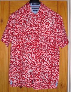 TOMMY-HILFIGER-Hand-Dyed-Red-White-Batik-Mens-Short-Sleeve-Shirt-Size-Lg