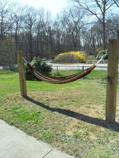 My Puerto Rican hammock set up - rented an augur, drilled two holes, bought 5 1/2x5 1/2x8 ft pressure treated poles, quikcrete in the holes, a little bit of hardware and voila! Our own little piece of PR in RI.