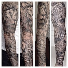 #blackandgrey #realistic #sleeve finished today @playersclubtattoomaastricht on Steven's arm 8 session approx 3 hours per sitting! #allround #lion #clock #roman #numbers #script #rose #key #chain #cards #filigrain #tattoo #frankie_deny