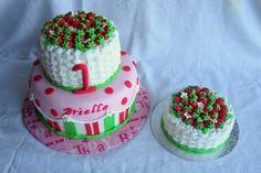 Children's Birthday Cakes - Strawberry Delight! Baby's First Birthday cake and smash cake.