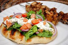 Chicken Souvlaki (Greek) - serve with pita bread, lettuce, red onion, tomatoes and tzatziki sauce (recipe included)