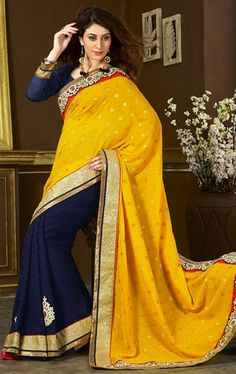 Picture of Fashionable Yellow and Navy Blue Color Impressive Saree