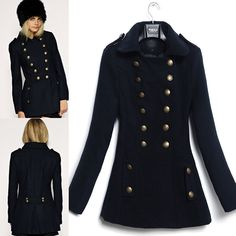 vintage jackets and coats for women   winter women's fashion casual vintage military down jackets wool coats ...