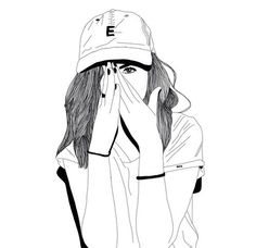 art, black, doodles, drawings, fashion, girl, grunge, indie, outline, outlines, white