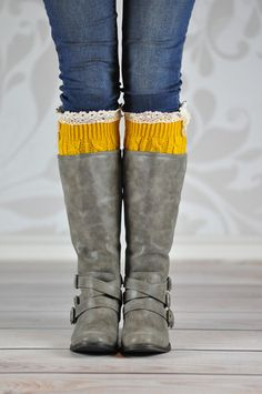 MUSTARD ACORN BUTTON BOOT CUFFS These adorable accessory style purposeful boot cuffs with the exceptional quality laced around the top rim and two little buttons give the perfect hug to your calves or ankles.