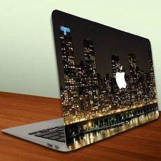 Macbook Air or Macbook Pro inch) Vinyl, Removable Skin - Cityscape - New York at Night - NY Skyline Coque Macbook, Macbook Skin, Coque Iphone, Apple Laptop, Mac Laptop, Apple Iphone, Laptop Case, Macbook Stickers, Macbook Decal