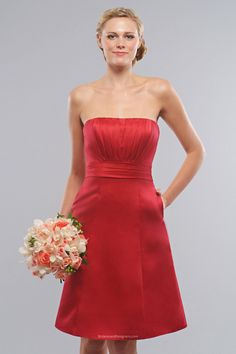 gorgeous #red #sleeveless a-line knee length pleated satin #bridesmaid occasion #dress with pocket