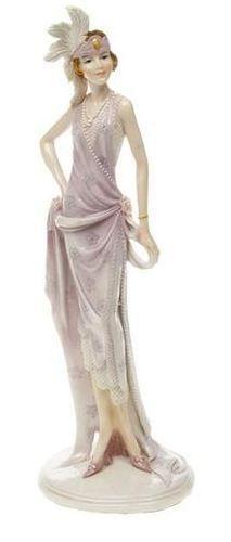 Art Deco Flapper Lilac Glazed Ceramic Dress Lady Figurine.