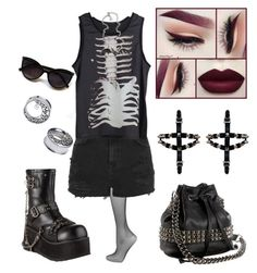 """""""Demonia clash 430: car show"""" by hisinfernalzombie ❤ liked on Polyvore featuring L'Agent By Agent Provocateur, Pleaser, Topshop, Tylie Malibu and Rock Rebel"""