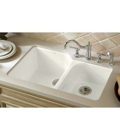 kitchen sinks undermount | ... Executive Chef Cast Iron Double Bowl Undermount Kitchen Sink - White