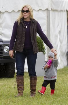 Autumn Phillips and daughter Isla attend the Whatley Manor International Horse Trials at Gatcombe Park.