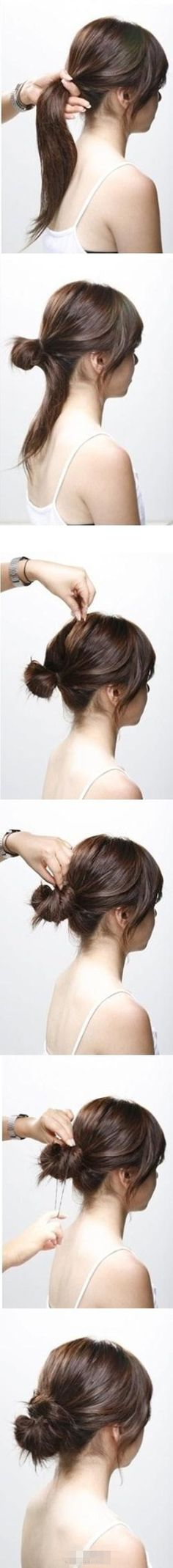 Good messy bun tutorial. -- I already do this, but thought I'd share for those that want to do it too! Super cute, quick and easy!
