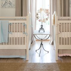 Crib Bedding in Flax Linen with Light Blue Linen Accents by Carousel Designs.