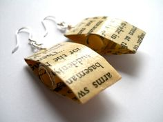 Kerouac  Earrings, On the Road, paper bead earrings from recycled book pages. $18.00, via Etsy.