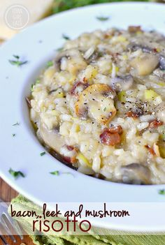 Bacon, Leek and Mushroom Risotto is a light and easy supper or side dish to serve any night of the week. True comfort food!