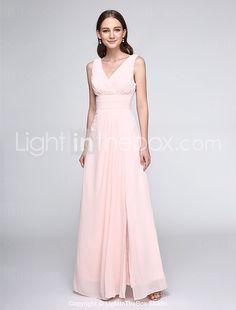 Lanting Bride Floor-length Chiffon Bridesmaid Dress - Elegant Sheath / Column V-neck with Criss Cross / Ruching 2016 - $79.99