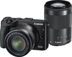 Canon - EOS M3 Mirrorless Camera with EF-M 18-55mm and 55-200mm Lenses - Black