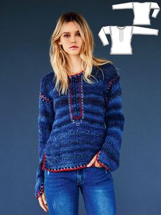 Simply to knit is not enough for you? Try your hand with an artful touch at the polo placket, on the sleeves and at the hems for a colorful accent of this boho sweater.