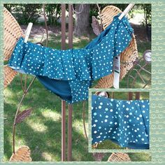 NWT DKNY swim bottoms NEW DKNY very cute swim bottom with short skirt/ruffle all the way around. Blue with teal and white polka dots. Open the offers No Trades No PayPal DKNY Swim Bikinis