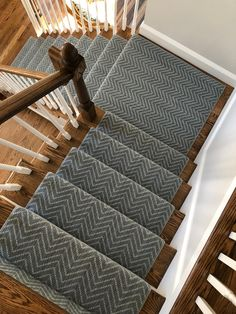 An excellent polypropylene Indoor/Outdoor option chevron / herringbone style install we did for a cu Striped Carpet Stairs, Carpet Staircase, Staircase Runner, Staircase Remodel, Staircase Makeover, Stairs With Carpet Runner, Best Carpet For Stairs, Stairs Landing Carpet, Chevron Carpet