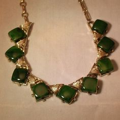 Vintage Bakelite Necklace Marbled Emerald Green by by 4dollsintime, $48.00