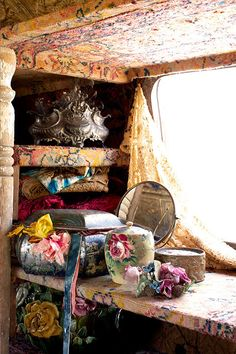 Jeanne Bayol Vardo Our Merry Band O' Bohemians Magnolia Pearl Airstream interiors I love my Home but the dream of owning a vintage A. Gypsy Decor, Bohemian Gypsy, Bohemian Decor, Gypsy Chic, Bohemian House, Boho Chic, Bohemian Kitchen, Bohemian Room, Bohemian Accessories