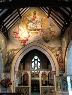 Vanessa Bell and Duncan Grant Mural, Berwick Church, Lewes, East Sussex, England, via Flickr.