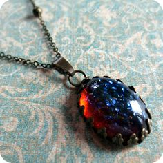 Lava Bubble: mexican opal dragon's breath glass stone and aged brass beaded necklace