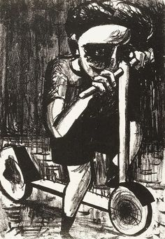 Boy on scooter 1953 Charles Blackman
