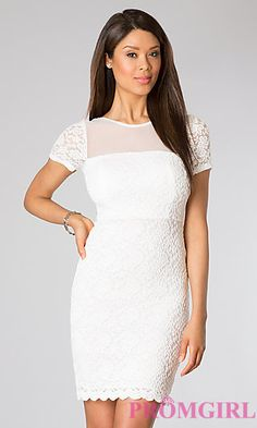 Short Lace Short Sleeve Dress at PromGirl.com