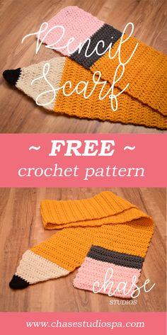 FREE Crochet Pattern: Pencil Scarf  Back to School, Teacher Gift, Crocheting, Yarn, Red Heart, Art, DIY, Craft