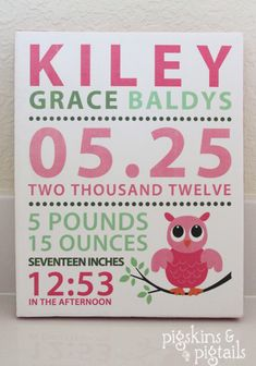 Pigskins & Pigtails » Blog Archive » Baby Announcement Canvas Art