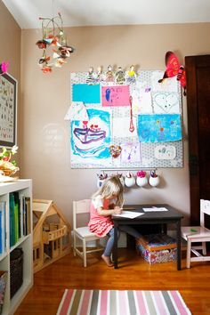 Living With Kids: Michelle LeBlanc - cute art station and dollhouse