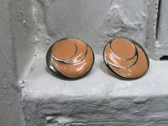 Vintage Blush Peach & Silver Circular Earrings by LeFringeCollection on Etsy