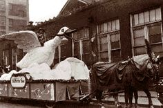 In 1924, the Mother Goose float led off the first J.L. Hudson Thanksgiving Day parade.- In 1924, Charles F. Wendel, display manager at the J.L. Hudson Company, conceived the idea of a grand Thanksgiving parade down Woodward Avenue, with Santa alighting from his sleigh at Hudson's to take up residence at the 12th floor Toyland.  His idea would become one of Detroit's longest-running and most beloved traditions.