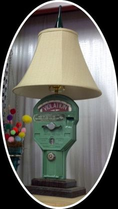 Vintage Parking meter repurposed into lamp for cottage style home decor or funky fun office; Upcycle, Recycle, Salvage, diy, repurpose! For flea thrift ideas and goods shop at Estate ReSale ReDesign, Bonita Springs, FL