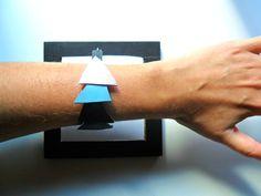 Leather triangle bracelet, leather geometric bracelet, leather wrist, leather geo wrist, triangle jewelry, geometric jeweley, geo wrist cuff by TheFormaClay on Etsy