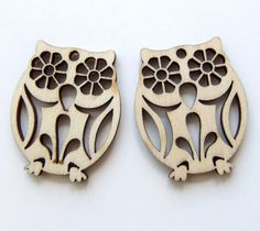 Owl Pendants Wooden Owls for Earrings or Necklace by JadeMade82