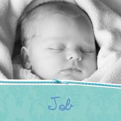 Klassiek geboortekaartje met foto, Job