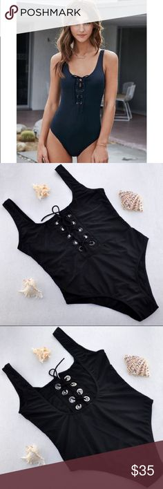 "Summer Must Have☀️Sexy Lace Up Black  Bathing Suit Summer Must Have☀️Sexy Lace Up Black  Bathing Suit☀️comfy , flattering cut, material: spandex, polyester, wire free, no padding,;label reads M; Approximate measurements: under bust: 28.5-39.5"", upper bust 33.5-36""; fits best: 32A to 34C Swim One Pieces"
