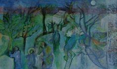 Moonlight by Susan Dennis Moonlight, Paintings, Landscape, Night, Art, Still Life, Art Background, Scenery, Paint