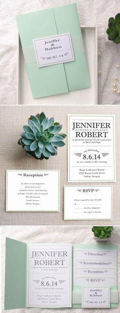 INVITATION love the design! Would take it if some font colors can be changed to peach or pink. mint green pocket wedding invitations with free rsvp cards for spring/summer wedding ideas Summer Wedding Invitations, Wedding Invitation Wording, Diy Invitations, Wedding Stationary, Invitation Cards, Invitation Ideas, Succulent Wedding Invitations, Invitation Layout, Wedding Paper