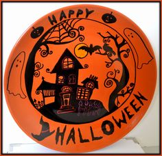 hand painted halloween ceramic spider web plate spider webs spider and etsy - Halloween Plates Ceramic