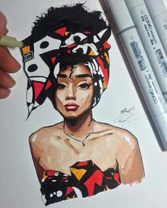 Beautiful illustration of a woman in a headwrap. African print